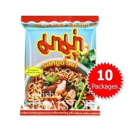 """""""MaMa"""" Spicy Pork Flavor (Moo Nam Tok) Instant Noodles - 10 Packages"""